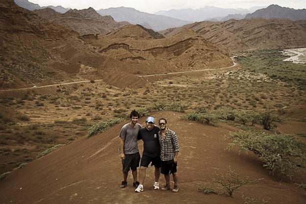 Matías, Rodolfo y Andrés, en la Qubrada de las Conchas