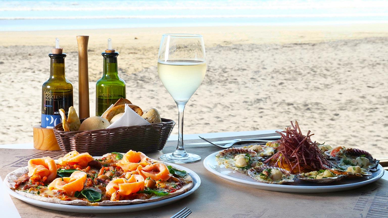 pescado, mariscos y vino en playas de la region de coquimbo